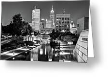 Indianapolis Black And White Downtown Skyline Greeting Card by Gregory Ballos