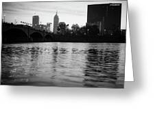 Indianapolis On The Water - Black And White Skyline Greeting Card