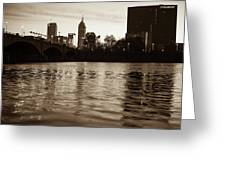 Indianapolis On The Water - Sepia Skyline Greeting Card
