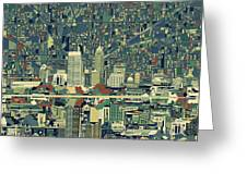 Indianapolis Skyline Abstract 3 Greeting Card