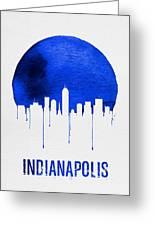 Indianapolis Skyline Blue Greeting Card