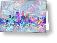Indianapolis Skyline Watercolor 5 5 Greeting Card