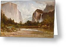 Indians Fishing In Yosemite Greeting Card