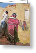 Indians Outside Taos Pueble Greeting Card