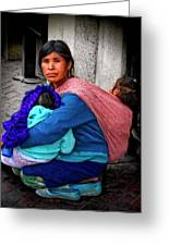Indigenous Woman And Children Of Mexico Greeting Card