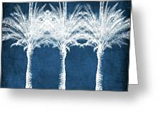 Indigo And White Palm Trees- Art By Linda Woods Greeting Card