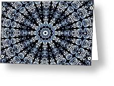 Indigo Flow Blue Kaleidoscope Greeting Card