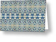 Indigo Ocean - Caribbean Tile Inspired Watercolor Swirl Pattern Greeting Card