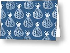Indigo Pineapple Party Greeting Card by Linda Woods