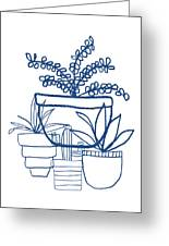 Indigo Potted Succulents- Art By Linda Woods Greeting Card