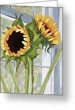 Indoor Sunflowers II Greeting Card by Trina Teele