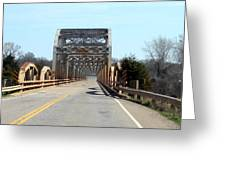 Industrial Bridge Over The Red River Greeting Card