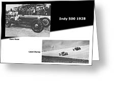Indy 500 1928 Sam Ross And Leon Duray Greeting Card