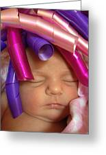 Infant With Ribbon Curls Greeting Card