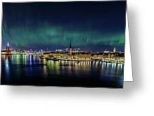 Infinite Aurora Over Stockholm Greeting Card
