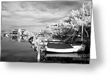 Infrared Boats At Lbi Bw Greeting Card