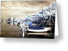 Infrared Boats At Lbi Greeting Card by John Rizzuto