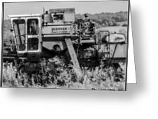 Infrared Bw Old Farm Combine Greeting Card