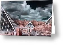 Infrared Glass Pyramids Panorama Greeting Card