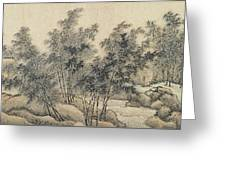 Ink Painting Landscape Bamboo Forest Rivers Greeting Card