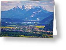 Inn River Valley And Kaiser Mountains View Greeting Card