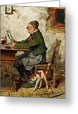 Innkeeper With A Cat Greeting Card