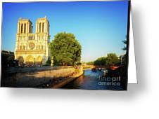 Notre Dame In Sunset Light Greeting Card