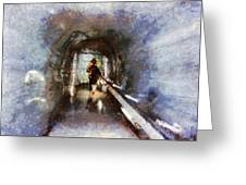 Inside An Ice Tunnel In Switzerland Greeting Card