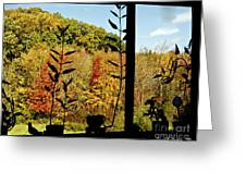 Inside Looking Outside At Fall Splendor Greeting Card