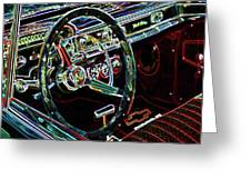 Inside Of A Classic Car Greeting Card