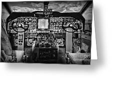Inside The Cockpit Black And White Greeting Card