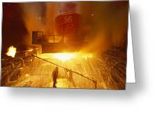 Inside The East-slovakian Steel Mill Greeting Card by James L. Stanfield