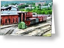 Inside The Train Yard Greeting Card