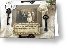 Inspirational Art - Vintage Wedding Photo With Antique Keys - Inspirational Vintage Black Keys Art  Greeting Card