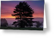 Intense Dawn Sky Over A Foggy South Amherst Greeting Card