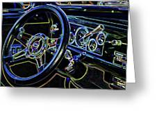 Interior Of A Classic Vintage Car Greeting Card