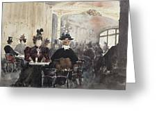 Interior Of The Concert Rouge Greeting Card by Henri Laurent Mouren
