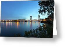 Interstate Bridge Over Columbia River At Dusk Greeting Card