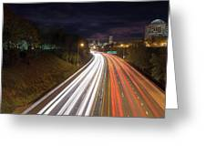 Interstate Freeway Through Portland Oregon Downtown Greeting Card