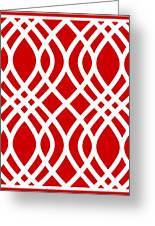 Intertwine Latticework With Border In Red Greeting Card
