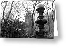Into Bryant Park Mono Greeting Card