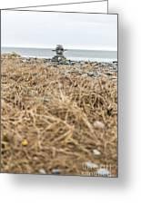 Inukshuk At Lawrencetown Beach, Nova Scotia Greeting Card