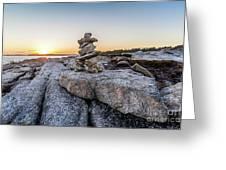 Inukshuk In Terence Bay, Nova Scotia Greeting Card