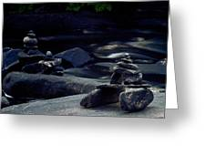 Inuksuk Stone Figures And River Greeting Card