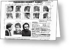 Investigator's Copy - Ted Bundy Wanted Document  1978 Greeting Card