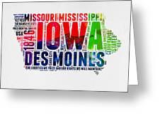 Iowa Watercolor Word Cloud  Greeting Card