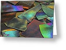 Iridescence Angles, Curves Greens Blues Browns Rusts Yellows Geometric 2 8312017  Greeting Card