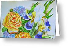 Irises And Rores. Greeting Card