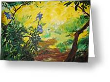 Irises  And Sunlight Greeting Card by Lizzy Forrester