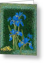 Irises Blue Flowers Lucky Love Frog Friends Fine Art Print Giclee High Quality Exceptional Colors  Greeting Card